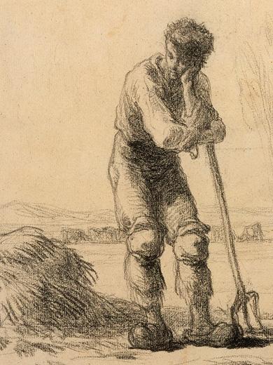 Jean François Millet, _Peasant leaning on a pichfork_, 1848