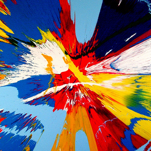 Damien Hirst, _Beautiful Windmill of hypnosis over hippy trippy landscape painting_, 2007