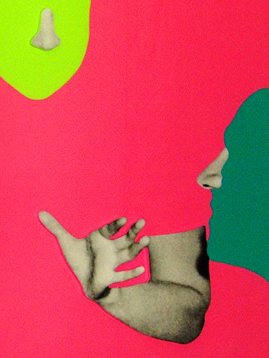 John Baldessari, _Two bluegreen Faces with Noses and Ears, One Yellogreen Face with Nose and Three Hands and accordeon_, 2006